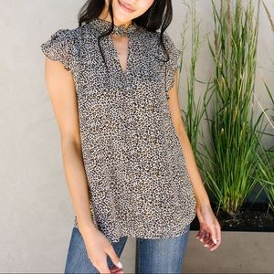 The V is the Key Leopard Print Blouse